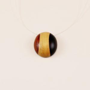 Collier pendentif grain de café Ébène Buis Pernambouc